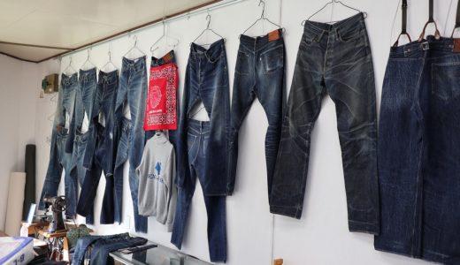 DENIM-BASEで飾っているジーンズ